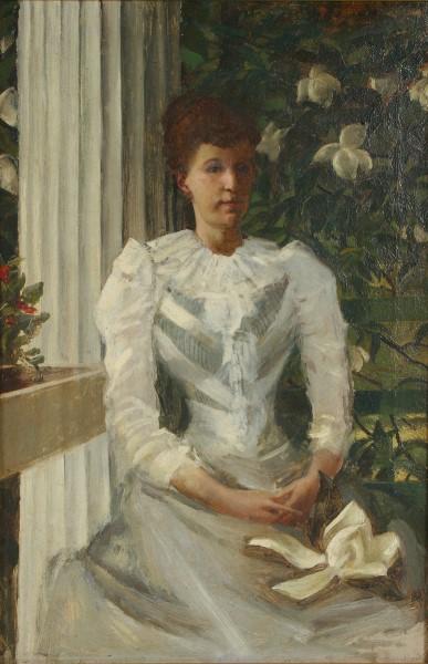 """Portrait of a Victorian Woman in White"" by William de Leftwich Dodge, 1891"