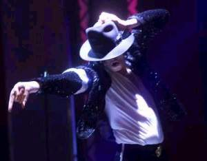 Michael Jackson in white undershirt and fedora