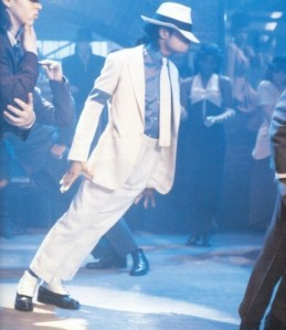michale jackson smooth criminal lean in white suit with spats and fedora