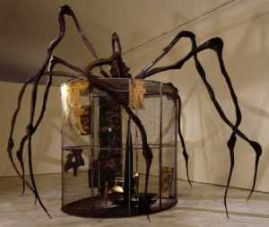 "Louise Bourseois, ""Spider"" (1997). Note the cage / house enveloped by the enormous arachnid."