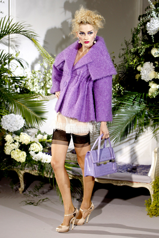 Dior F09 - purple outdoor coat and slip dress