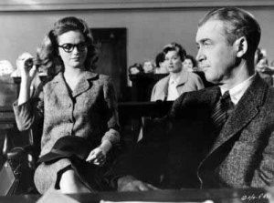 AFTER: Lee Remick deliberately dowdy in courtroom in Anatomy of a Murder