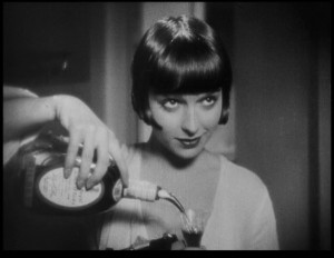 More often than not, Louise Brooks smiles, a huge departure from Theda Bara's vamp image.